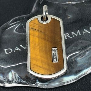 David Yurman Tigers Eye Dog Tag Pendant .925